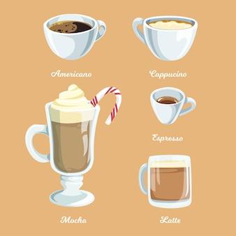 Coleção de tipos de café