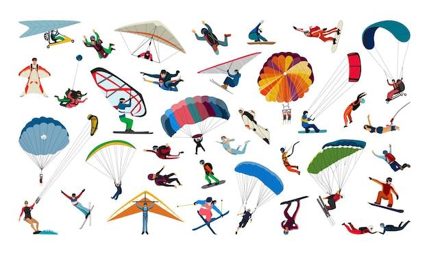 Coleção de tipos de esportes aéreos