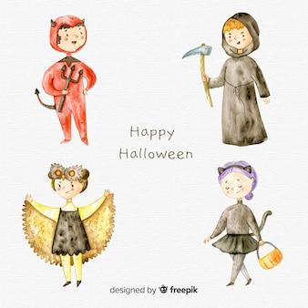 Coleção de tipos de halloween em aquarela