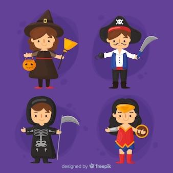Coleção de tipos de halloween em design plano