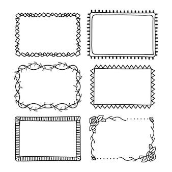 Coleção de tipos de moldura e divisórias desenhadas à mão