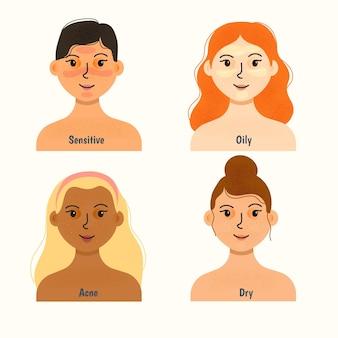 Coleção de tipos de pele desenhados à mão plana
