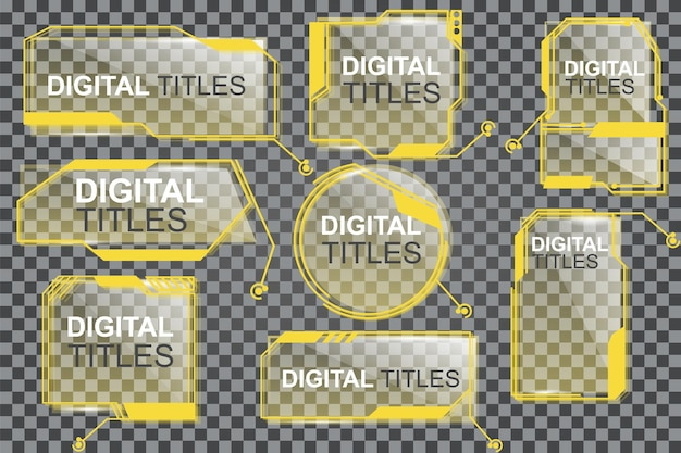 Coleção de títulos de destaque digital do layout elements