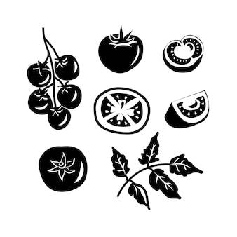 Coleção de tomates pretos em branco