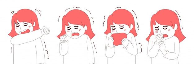 Coleção de tosse de mulher de ilustração