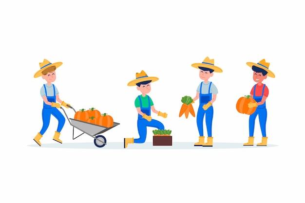 Coleção de trabalhadores agrícolas ilustrados
