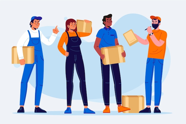Coleção de trabalhadores de entrega em domicílio