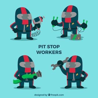 Coleção de trabalhadores de pit stop
