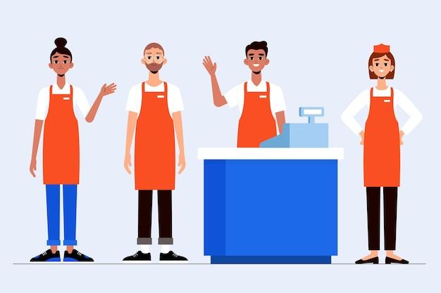 Coleção de trabalhadores de supermercado