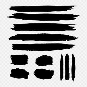 Coleção de traçado de pincel aquarela preto
