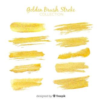 Coleção de traçado de pincel dourado