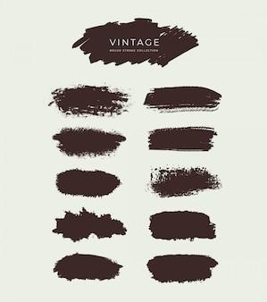 Coleção de traçados de pincel vintage