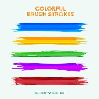 Coleção de traços de pincel colorido