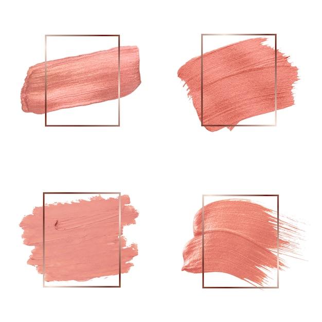 Coleção de traços de pincel rosa