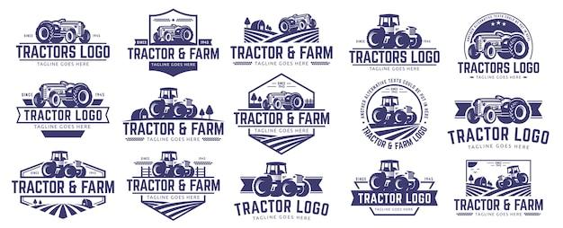 Coleção de tractor e logotipo da fazenda