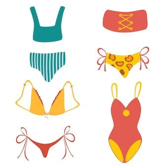 Coleção de trajes de banho femininos elegantes. conjunto de roupas íntimas e maiôs da moda ou tops e calças de biquíni. ilustração em vetor colorido plana dos desenhos animados.