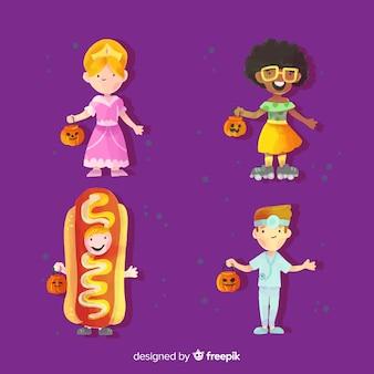 Coleção de trajes de criança de halloween da aquarela