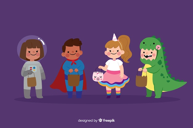 Coleção de trajes de crianças halloween plana