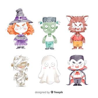 Coleção de trajes de personagem de halloween em aquarela