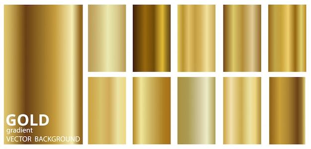 Coleção de transições de cores do tema metal ouro gradiente.