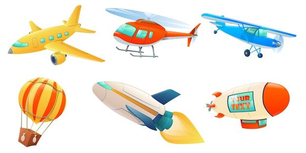 Coleção de transporte aéreo de desenho animado