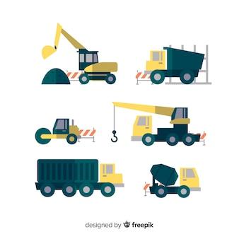 Coleção de transporte de construção plana