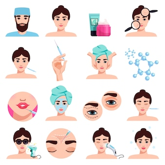 Coleção de tratamentos cosméticos de rejuvenescimento facial com aplicação de máscara, procedimentos de preenchimento de lábios de injeções de botox isolados