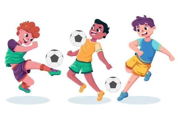 Coleção de treinamento de jogadores de futebol dos desenhos animados