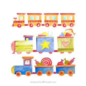 Coleção de trens no estilo da aguarela
