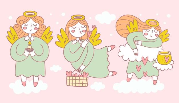 Coleção de três anjos bonitos em poses diferentes