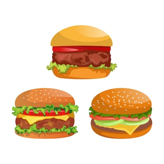 Coleção de três hambúrgueres