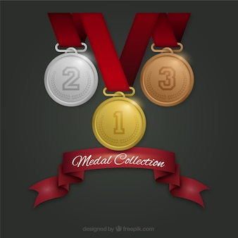 Coleção de três medalhas por dia de veteranos