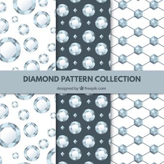 Coleção de três padrões de diamante