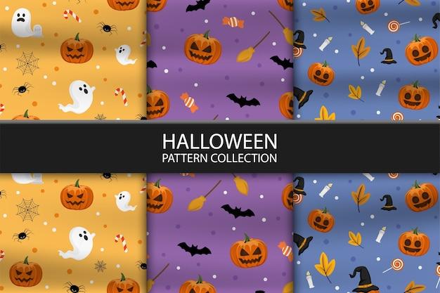 Coleção de três padrões diferentes de halloween