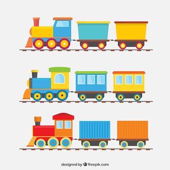 Coleção de três trens coloridos com vagões