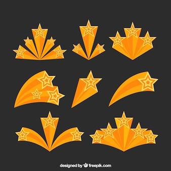 Coleção de trilhas de estrelas amarelas