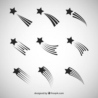Coleção de trilhas estelas em preto e branco
