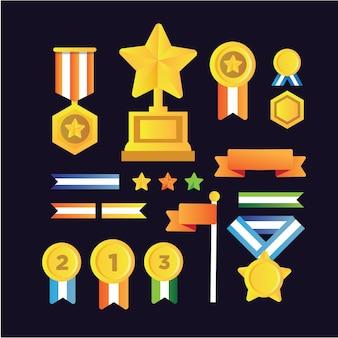 Coleção de troféus e medalhas