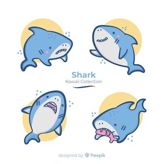 Coleção de tubarões de mão desenhada kawaii