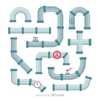 Coleção de tubos de metal com válvulas em design plano