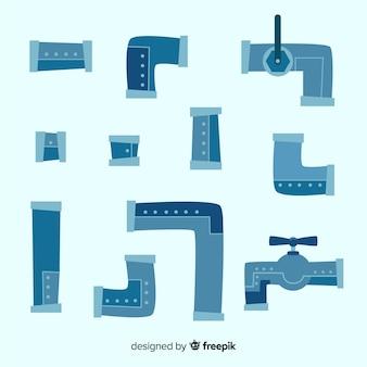 Coleção de tubos de metal em design plano