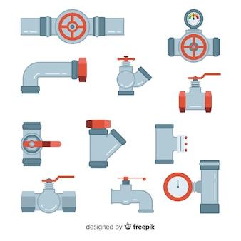 Coleção de tubos e válvulas planas