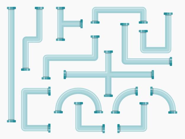 Coleção de tubos industriais planos com peças de encanamento de diferentes formas.