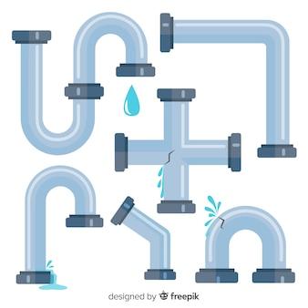 Coleção de tubulações de água de design plano