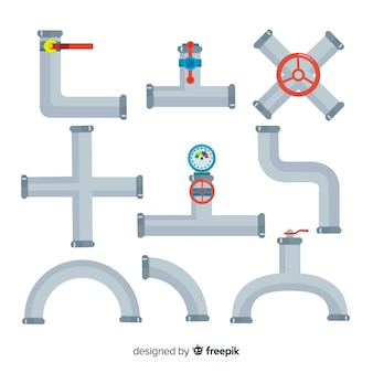 Coleção de tubulações metálicas em design plano