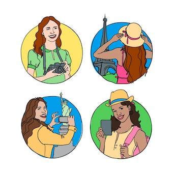 Coleção de turistas de estilo desenhado à mão