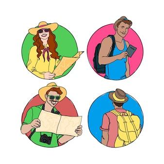 Coleção de turistas desenhada à mão