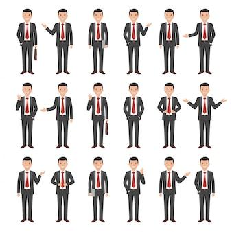 Coleção de um empresário sorridente estilo jovem dos desenhos animados em um terno cinza