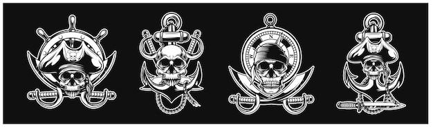 Coleção de uma equipe pirata cenografia para o fundo da camiseta com logotipo
