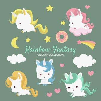 Coleção de unicórnio de fantasia de arco-íris